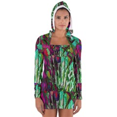 Bright Tropical Background Abstract Background That Has The Shape And Colors Of The Tropics Women s Long Sleeve Hooded T Shirt