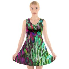 Bright Tropical Background Abstract Background That Has The Shape And Colors Of The Tropics V-Neck Sleeveless Skater Dress