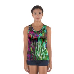 Bright Tropical Background Abstract Background That Has The Shape And Colors Of The Tropics Women s Sport Tank Top