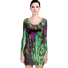 Bright Tropical Background Abstract Background That Has The Shape And Colors Of The Tropics Long Sleeve Velvet Bodycon Dress