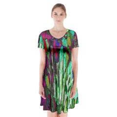 Bright Tropical Background Abstract Background That Has The Shape And Colors Of The Tropics Short Sleeve V-neck Flare Dress