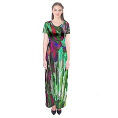 Bright Tropical Background Abstract Background That Has The Shape And Colors Of The Tropics Short Sleeve Maxi Dress