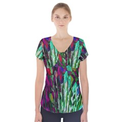 Bright Tropical Background Abstract Background That Has The Shape And Colors Of The Tropics Short Sleeve Front Detail Top