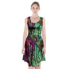 Bright Tropical Background Abstract Background That Has The Shape And Colors Of The Tropics Racerback Midi Dress
