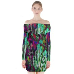 Bright Tropical Background Abstract Background That Has The Shape And Colors Of The Tropics Long Sleeve Off Shoulder Dress