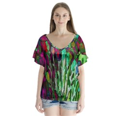 Bright Tropical Background Abstract Background That Has The Shape And Colors Of The Tropics Flutter Sleeve Top