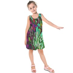 Bright Tropical Background Abstract Background That Has The Shape And Colors Of The Tropics Kids  Sleeveless Dress