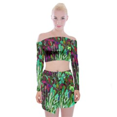 Bright Tropical Background Abstract Background That Has The Shape And Colors Of The Tropics Off Shoulder Top With Skirt Set