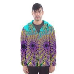 Beautiful Mandala Created With Fractal Forge Hooded Wind Breaker (Men)