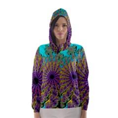 Beautiful Mandala Created With Fractal Forge Hooded Wind Breaker (women)