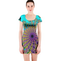 Beautiful Mandala Created With Fractal Forge Short Sleeve Bodycon Dress