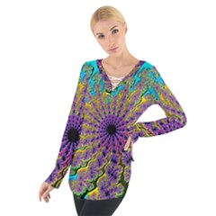 Beautiful Mandala Created With Fractal Forge Women s Tie Up Tee