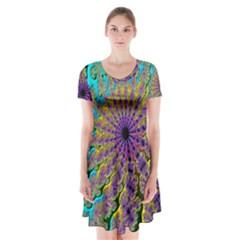 Beautiful Mandala Created With Fractal Forge Short Sleeve V-neck Flare Dress
