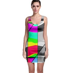 Colors Fadeout Paintwork Abstract Sleeveless Bodycon Dress