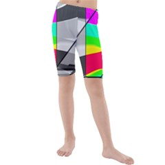 Colors Fadeout Paintwork Abstract Kids  Mid Length Swim Shorts