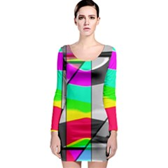 Colors Fadeout Paintwork Abstract Long Sleeve Bodycon Dress