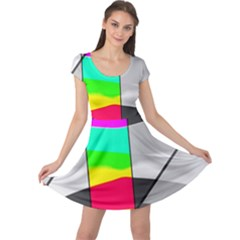 Colors Fadeout Paintwork Abstract Cap Sleeve Dresses