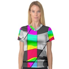 Colors Fadeout Paintwork Abstract Women s V Neck Sport Mesh Tee