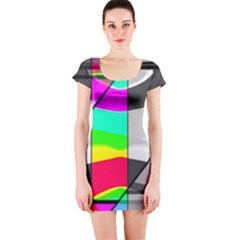 Colors Fadeout Paintwork Abstract Short Sleeve Bodycon Dress