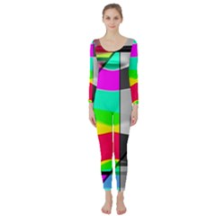 Colors Fadeout Paintwork Abstract Long Sleeve Catsuit