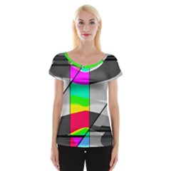 Colors Fadeout Paintwork Abstract Women s Cap Sleeve Top