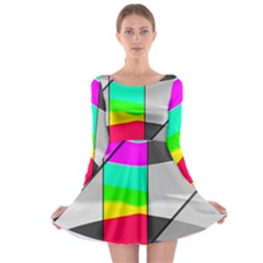 Colors Fadeout Paintwork Abstract Long Sleeve Skater Dress