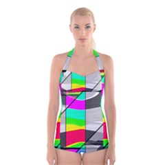 Colors Fadeout Paintwork Abstract Boyleg Halter Swimsuit