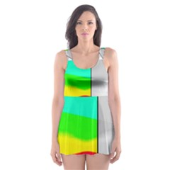 Colors Fadeout Paintwork Abstract Skater Dress Swimsuit