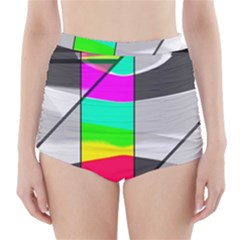 Colors Fadeout Paintwork Abstract High Waisted Bikini Bottoms