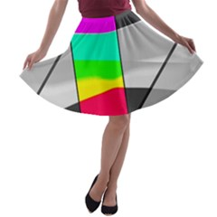 Colors Fadeout Paintwork Abstract A Line Skater Skirt