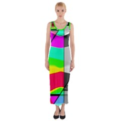 Colors Fadeout Paintwork Abstract Fitted Maxi Dress