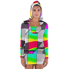 Colors Fadeout Paintwork Abstract Women s Long Sleeve Hooded T-shirt