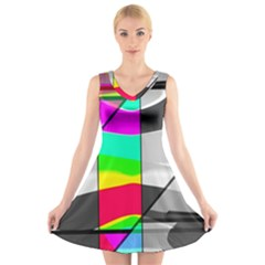 Colors Fadeout Paintwork Abstract V Neck Sleeveless Skater Dress