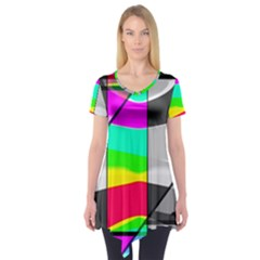 Colors Fadeout Paintwork Abstract Short Sleeve Tunic
