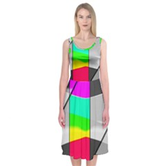 Colors Fadeout Paintwork Abstract Midi Sleeveless Dress