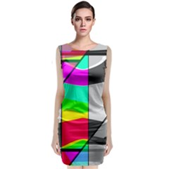 Colors Fadeout Paintwork Abstract Classic Sleeveless Midi Dress
