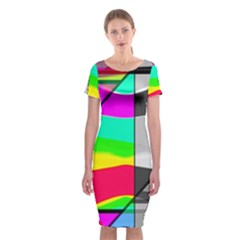 Colors Fadeout Paintwork Abstract Classic Short Sleeve Midi Dress