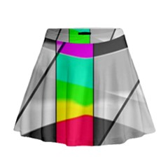 Colors Fadeout Paintwork Abstract Mini Flare Skirt