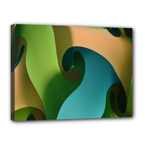 Ribbons Of Blue Aqua Green And Orange Woven Into A Curved Shape Form This Background Canvas 16  X 12
