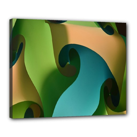 Ribbons Of Blue Aqua Green And Orange Woven Into A Curved Shape Form This Background Canvas 20  x 16