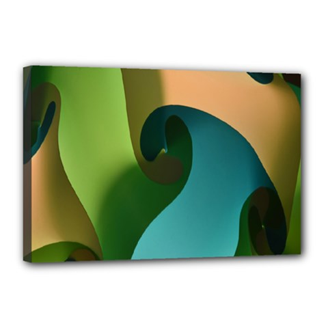 Ribbons Of Blue Aqua Green And Orange Woven Into A Curved Shape Form This Background Canvas 18  x 12