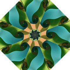 Ribbons Of Blue Aqua Green And Orange Woven Into A Curved Shape Form This Background Folding Umbrellas