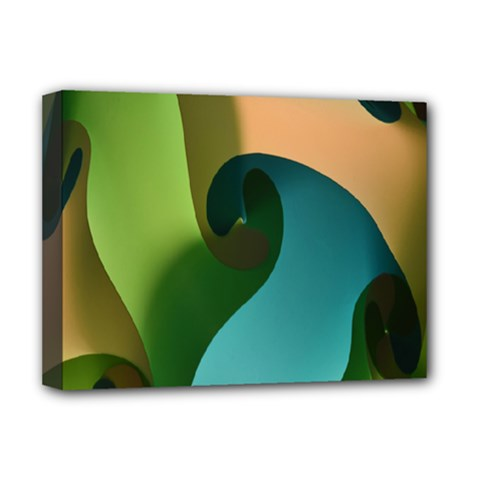 Ribbons Of Blue Aqua Green And Orange Woven Into A Curved Shape Form This Background Deluxe Canvas 16  x 12