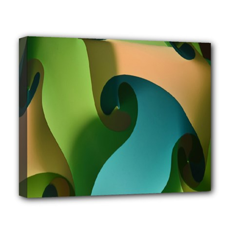 Ribbons Of Blue Aqua Green And Orange Woven Into A Curved Shape Form This Background Deluxe Canvas 20  x 16