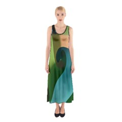 Ribbons Of Blue Aqua Green And Orange Woven Into A Curved Shape Form This Background Sleeveless Maxi Dress