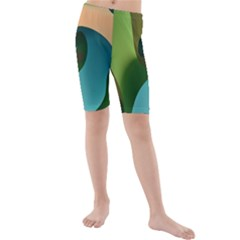 Ribbons Of Blue Aqua Green And Orange Woven Into A Curved Shape Form This Background Kids  Mid Length Swim Shorts