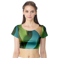 Ribbons Of Blue Aqua Green And Orange Woven Into A Curved Shape Form This Background Short Sleeve Crop Top (Tight Fit)