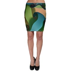 Ribbons Of Blue Aqua Green And Orange Woven Into A Curved Shape Form This Background Bodycon Skirt