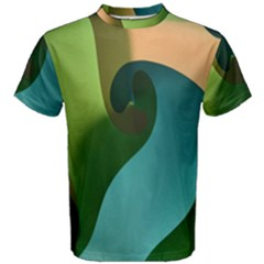 Ribbons Of Blue Aqua Green And Orange Woven Into A Curved Shape Form This Background Men s Cotton Tee