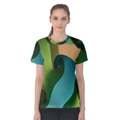 Ribbons Of Blue Aqua Green And Orange Woven Into A Curved Shape Form This Background Women s Cotton Tee